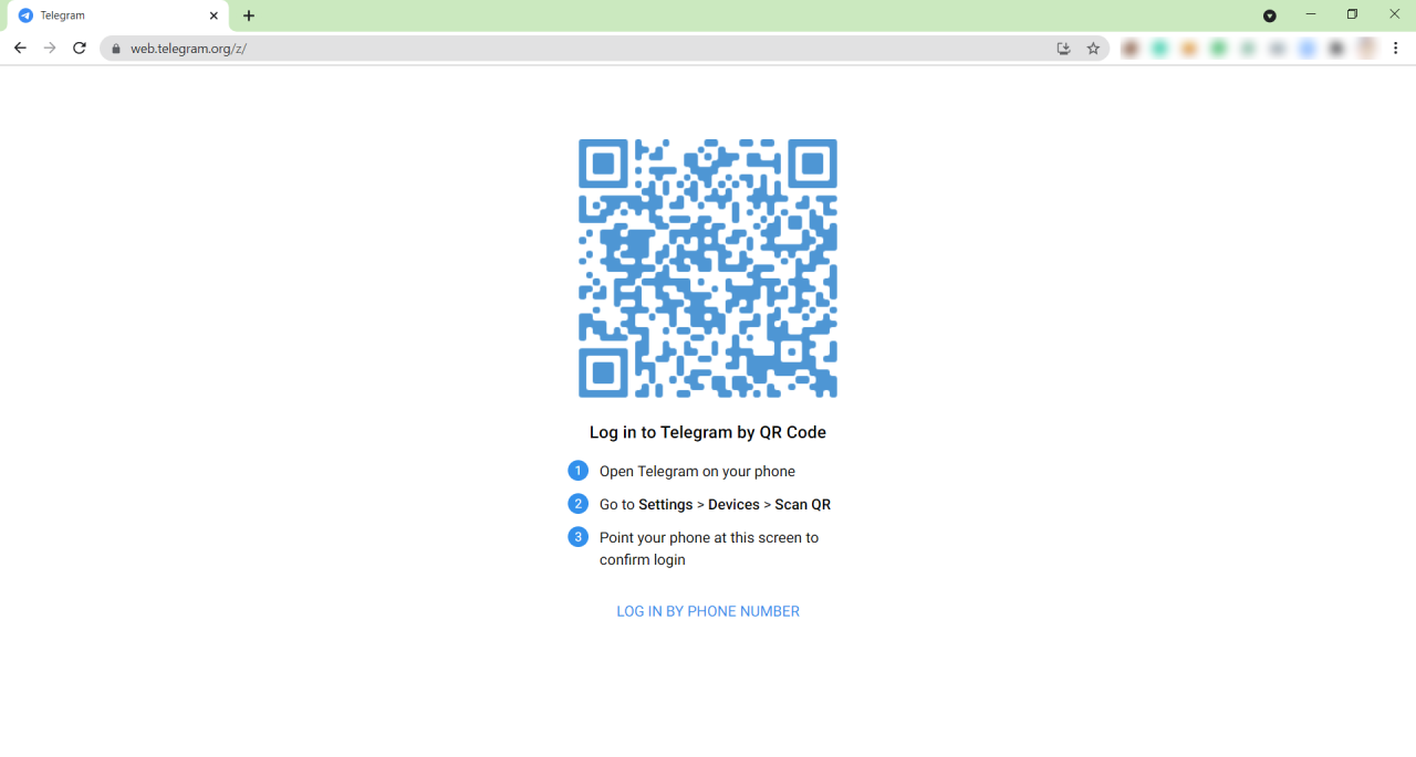 Telegram Web login qr code